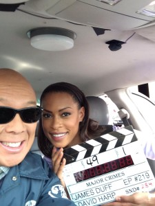 Michael Paul Chan and co-star Kearran Giovanni filming the season finale two finale of Major Crimes. Photo credit: Michael Paul Chan