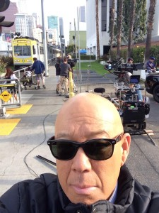 Michael Paul Chan takes a break from filming the season finale of Major Crimes on location in Downtown Los Angeles to capture the moment. Photo credit: Michael Paul Chan
